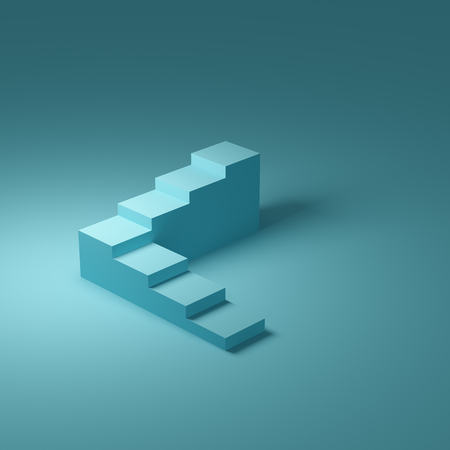 Abstract stairs in minimal style on blue background. 3D illustration.