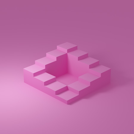 Abstract stairs in minimal style on pink background. 3D illustration.