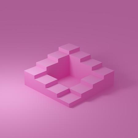 Escaleras abstractas en estilo minimalista sobre fondo rosa. Ilustración 3D.