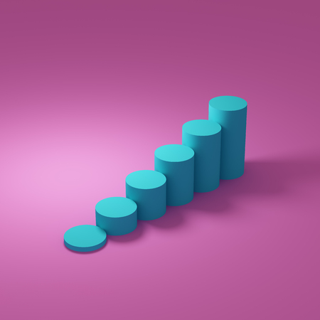 Abstract graph showing growth, steps up on pink background. 3D illustration.