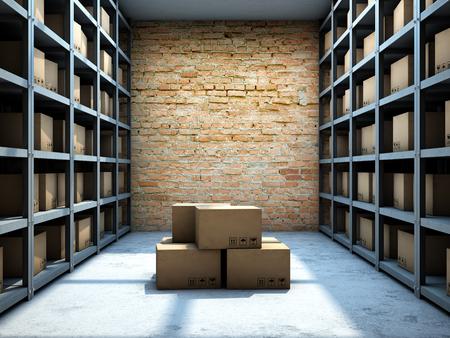 Produits d'entrepôt avec des boîtes prêtes à être livrées. illustration 3D. Banque d'images