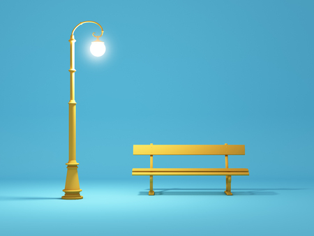 Bench and street lamp in cartoon style. 3D illustration.