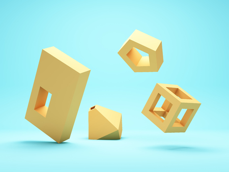 Abstract geometric shapes, conceptual art, 3D illustration, rendering. Reklamní fotografie