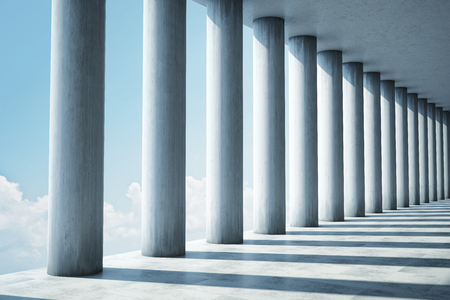 Architectural design of modern concrete tunnel with columns, 3D illustration, rendering.