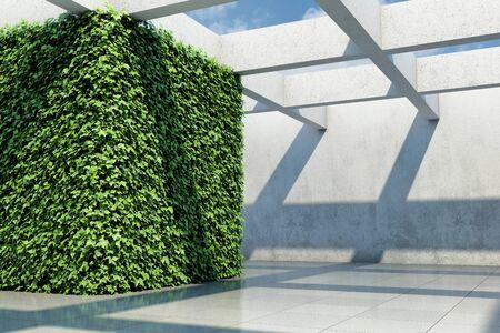 Large demonstration hall with vertical garden walls, concepts art hall, 3D illustration, rendering.