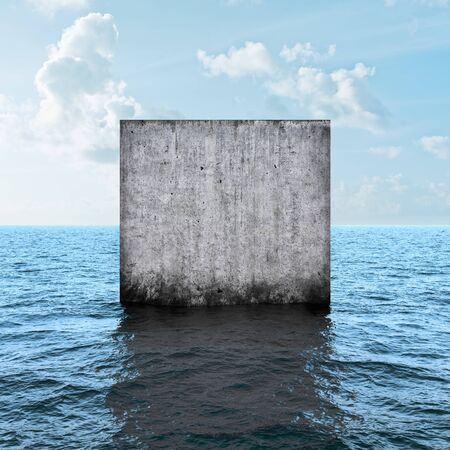 Abstract monolithic concrete slab in sea, 3D illustration, rendering.