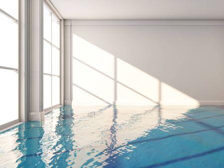 Swimming pool in modern interior room, 3D illustration, rendering.