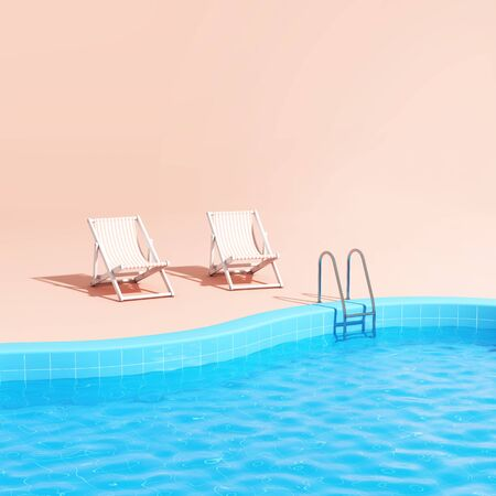 Swimming pool with lounge chairs in pink style, time relax, 3D illustration, rendering.