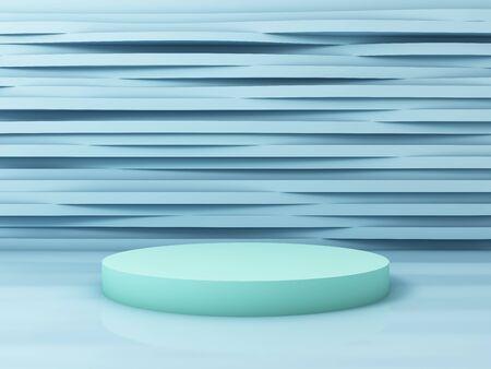 Soporte para producto, fondo abstracto, colores pastel, renderizado 3D.