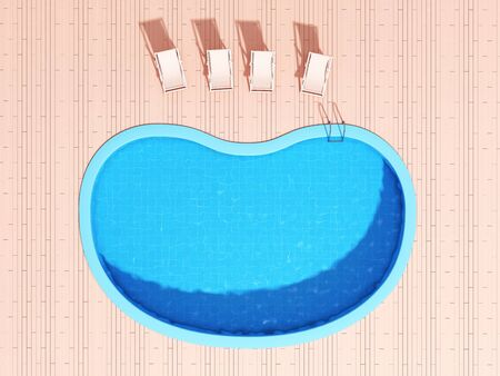 Swimming pool with lounge chairs in pink style, top view, 3D illustration, rendering.