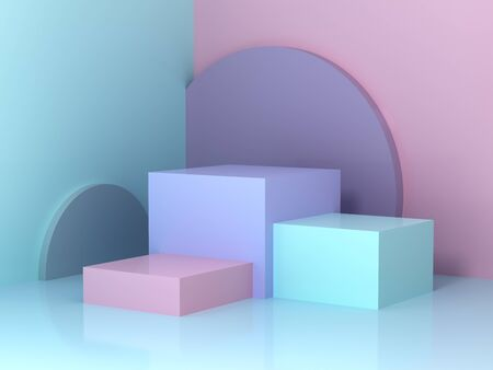 Stand for product, abstract geometric shapes, pastel colors, 3D rendering.