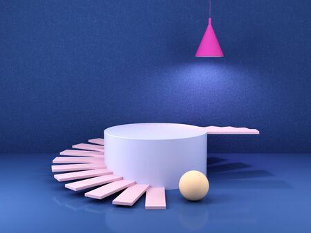 Stand pour produit, formes géométriques abstraites, couleurs vives, rendu 3D.