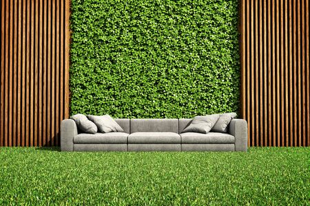 Inner courtyard with green vertical garden and sofa, 3D illustration, rendering.
