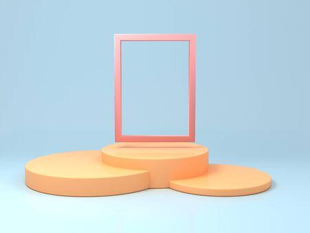 Soporte para producto, formas geométricas abstractas, colores brillantes, renderizado 3D. Foto de archivo