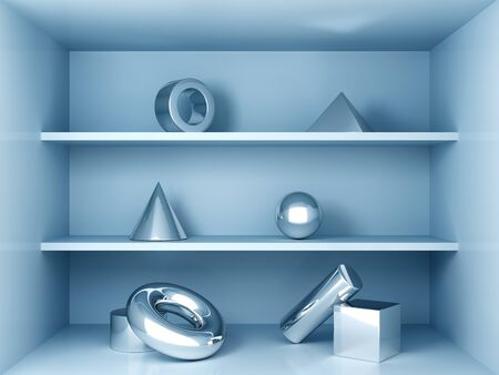 Product shelves, metallic geometric shapes, blue colors, 3D rendering. Фото со стока