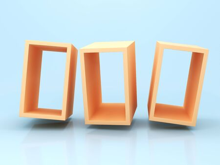 Frame for product, abstract geometric shapes, bright colors, 3D rendering.
