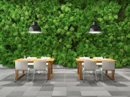 Restaurant in modern interior with vertical garden, 3D illustration, rendering.