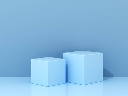 Stand for product, abstract geometric shapes, blue colors, 3D rendering.