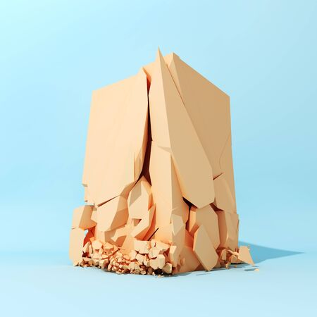 Orange cube breaks down on blue surface, 3D illustration, rendering.
