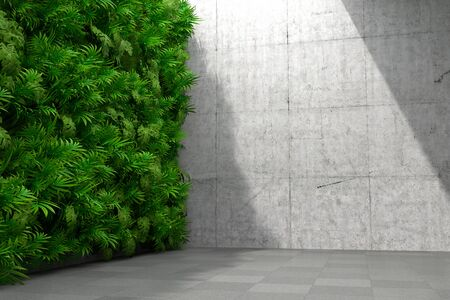 Concrete room interior with vertical garden walls, concepts art hall, 3D illustration, rendering.