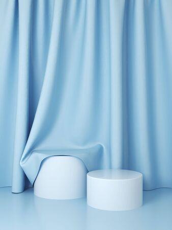 Produktständer, Stoff auf Podium, blauer Vorhang, 3D-Darstellung, Rendering. Standard-Bild