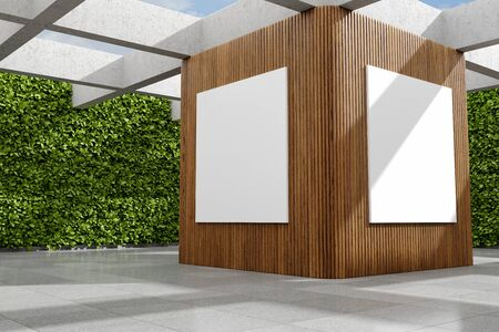 Large demonstration hall with billboard and green vertical garden, concepts art hall, 3D illustration, rendering. 写真素材