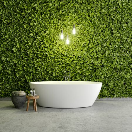 Modern bathroom with vertical garden and decor, 3D illustration, rendering.
