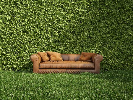 Leather sofa on grass and wall with vertical garden, 3D illustration, rendering.