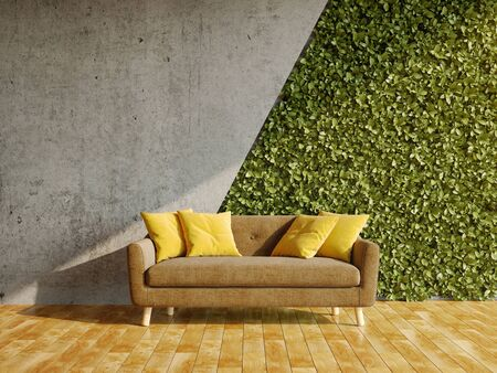 Interior of room with green wall of vertical gardens and sofa, 3D illustration, rendering.