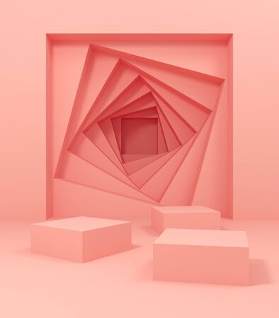 Stand for product, abstract geometric shapes, pink colors, 3D illustration, rendering.