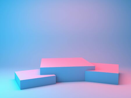 Stand for product in neon lighting, 3D illustration, rendering. 版權商用圖片