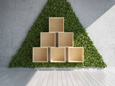 Shelf for products in room with green wall of vertical gardens, 3D illustration, rendering.