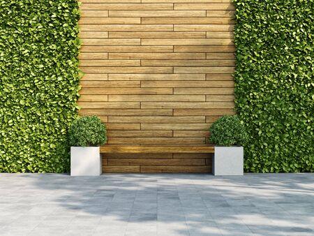 Decoratieve houten muur met verticale groene tuin, bank in de schaduw van de boom, 3D illustratie, weergave. Stockfoto