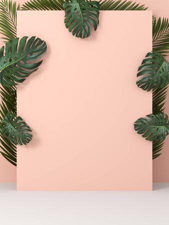 Cream mock up on background of green leaves, eco design, 3D illustration, rendering.