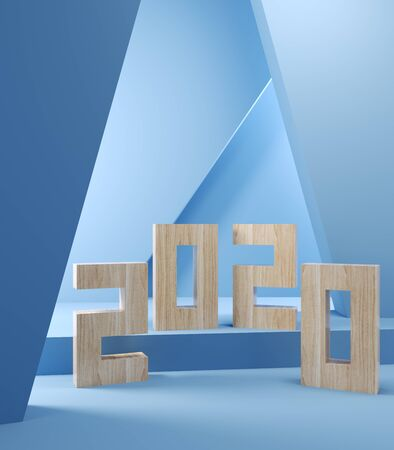 Blank greeting card on blue background with geometric shapes, 3D illustration, rendering. Stock Photo