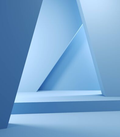 Stand for product, abstract geometric shapes, blue colors, 3D illustration, rendering. Banque d'images - 131846163
