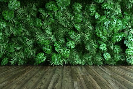 Vertical garden wall, green plants decoration, 3D illustration, rendering. Imagens