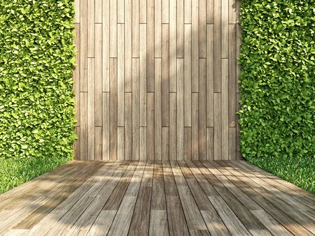 Decorative wall of wooden planks and green vertical garden, 3D illustration, rendering.