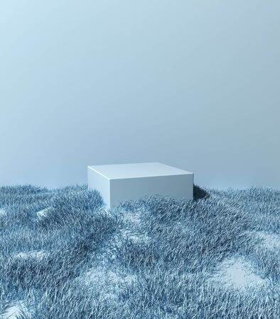 Stand for product, blue grass around podium, 3D illustration, rendering.