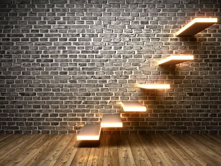 Stairs on brick wall with neon light. Concept of successful business, 3D illustration, rendering. 版權商用圖片