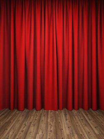 Red curtains on stage from wooden floor, 3D illustration, rendering.
