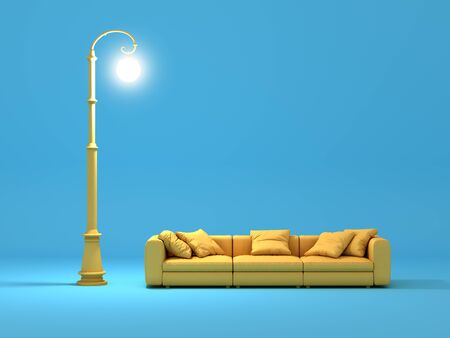 Sofa and street lamp in cartoon style. 3D illustration. Banque d'images