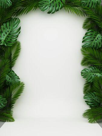 Mock up on background of green leaves, eco design, 3D illustration, rendering.