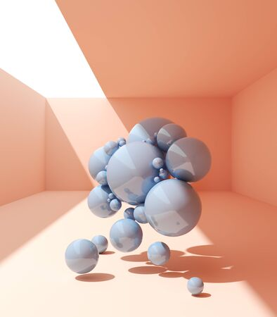 Abstract geometric shapes for product demonstration, conceptual art, 3D illustration, rendering.