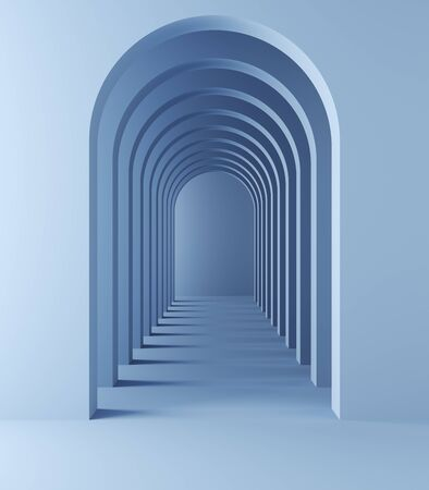 Long tunnel with arches for product presentation, blue colors, 3D illustration, rendering.