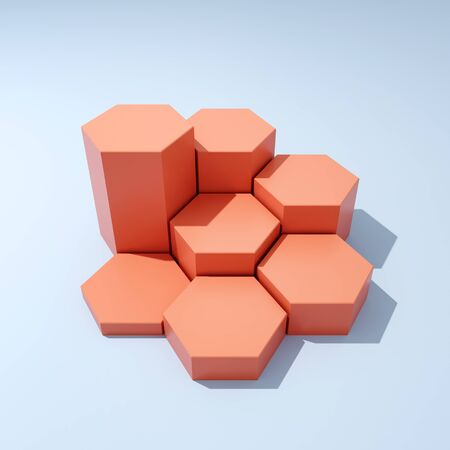 Hexagonal stand for product, step growth concept, 3D illustration, rendering. Banque d'images