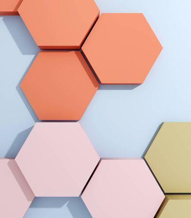 Hexagonal product demonstration template top view, 3D illustration, rendering.