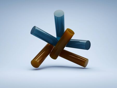 Abstract geometric shapes, conceptual art, 3D illustration, rendering. Banque d'images