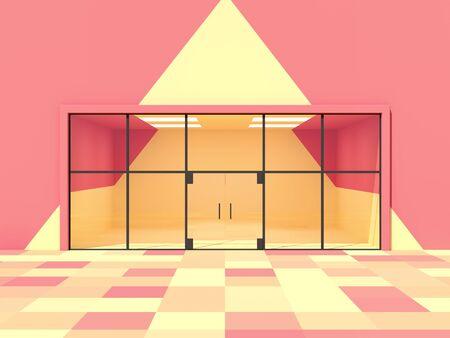 Empty storefront window, concept art, bright colours, 3D illustration, rendering.