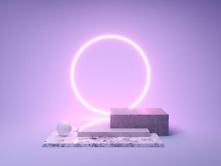 Stand for product in ring of neon light, 3D illustration, rendering.